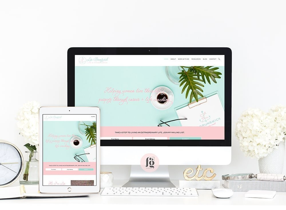 website design for Liz Brunswick Coaching by Fancy Girl Designs