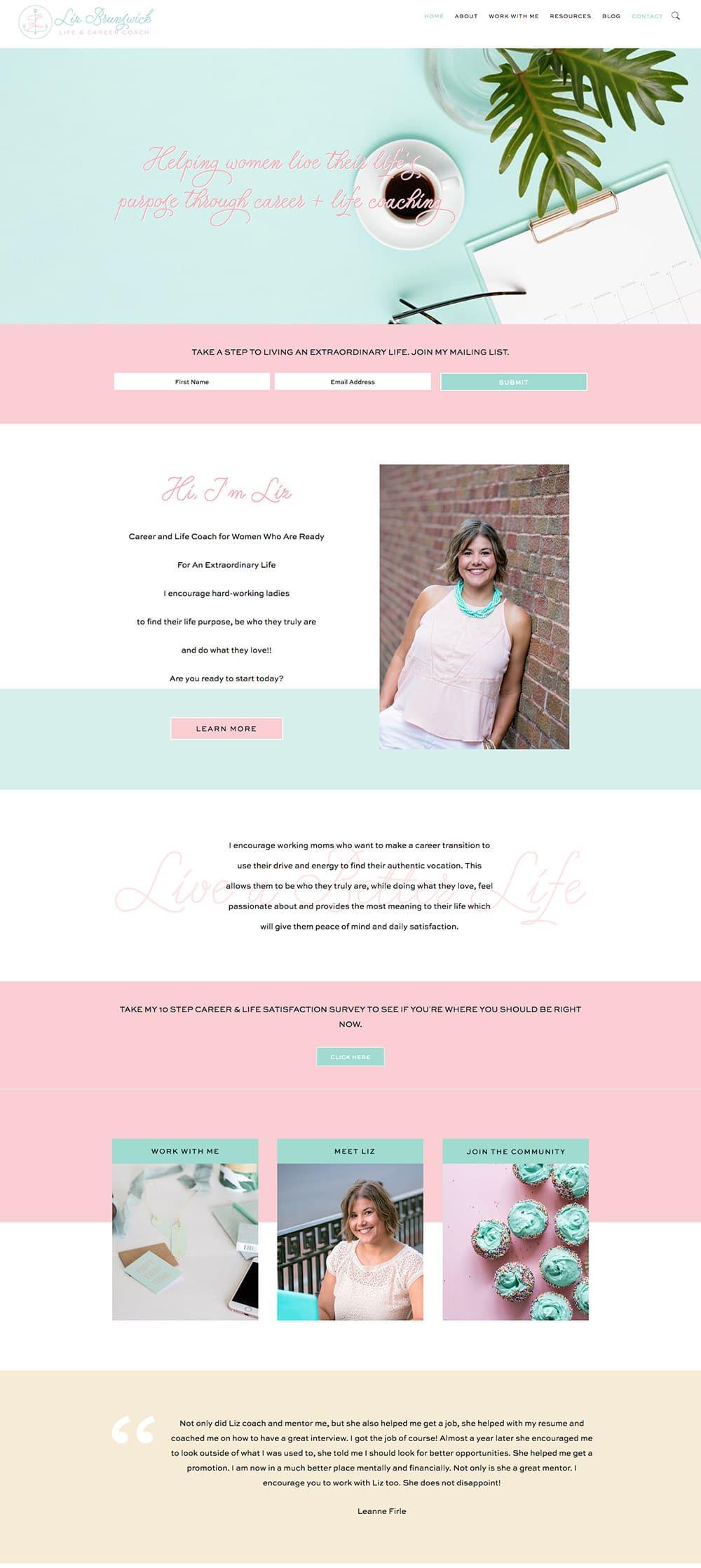 Homepage Screenshot of LizBrunswick.com