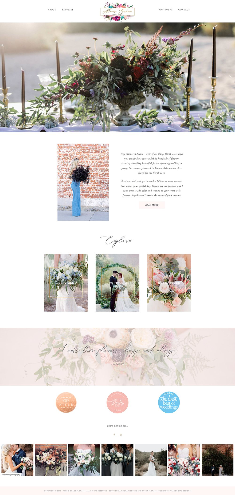 alexis grace florals homepage screenshot