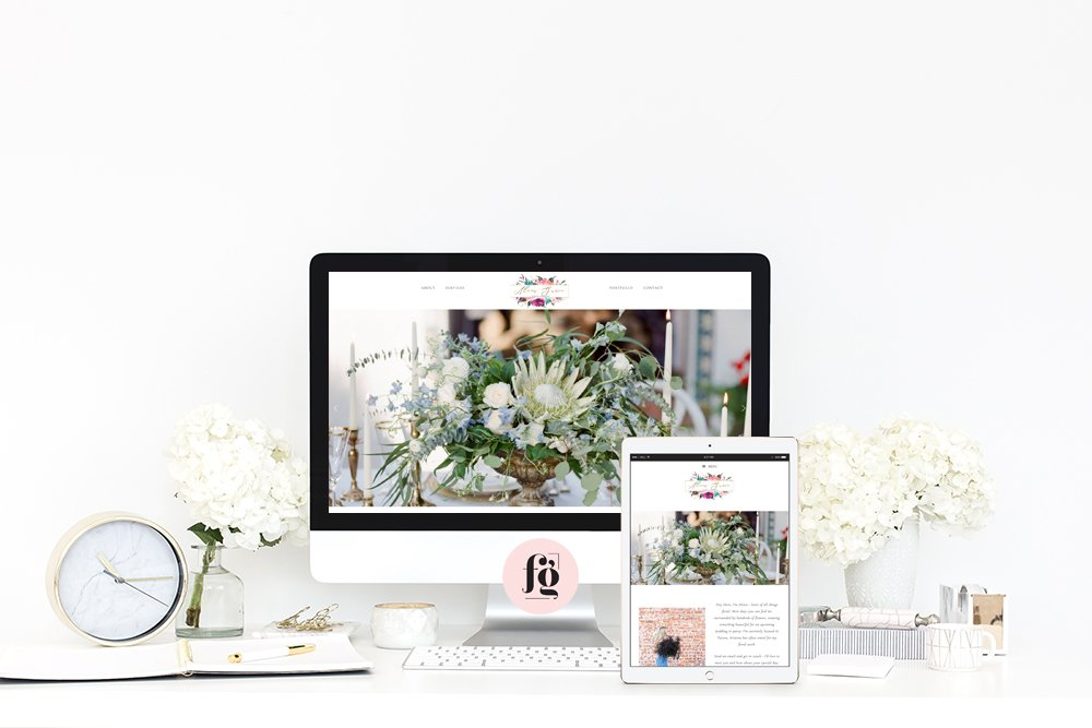 elegant website design for alexis grace florals by fancy girl designs