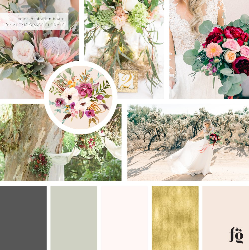 mood board for alexis grace florals