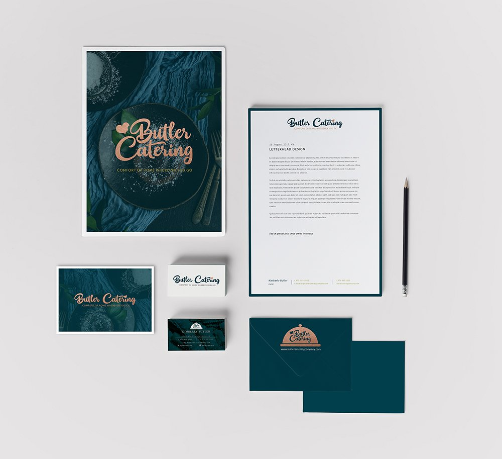 stationery suite design for butler catering