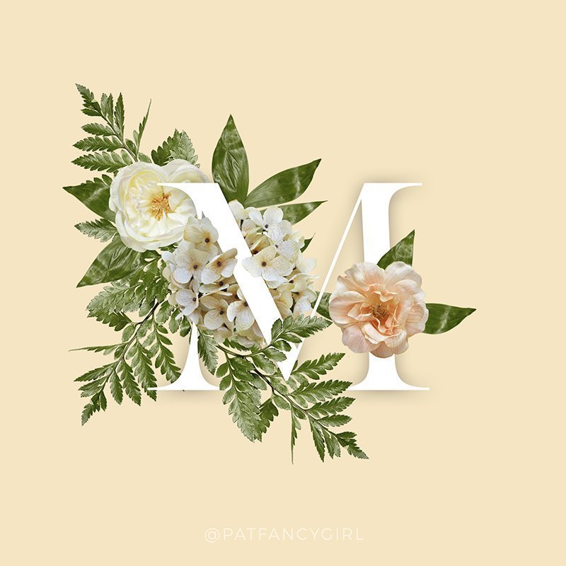 M floral type by Fancy Girl Designs