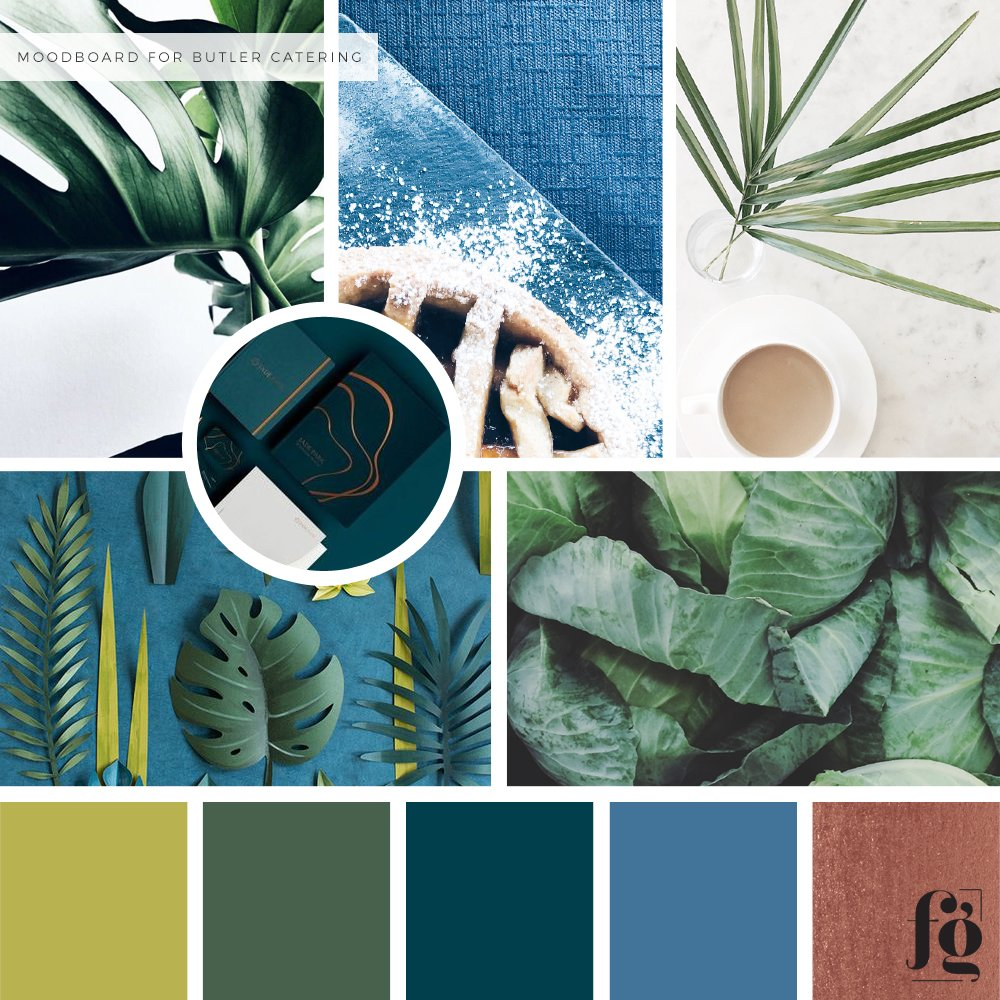 moodboard and color palette for butler catering