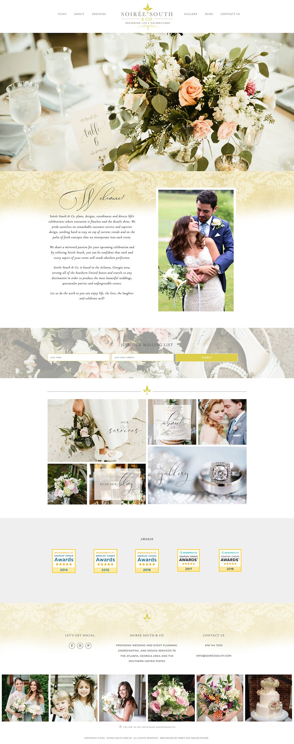 website design for soiree south & co by fancy girl designs