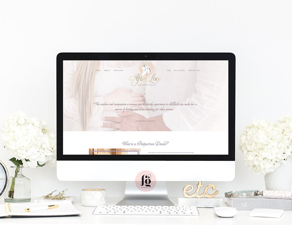 website design for AfterLove Doula by fancy girl designs