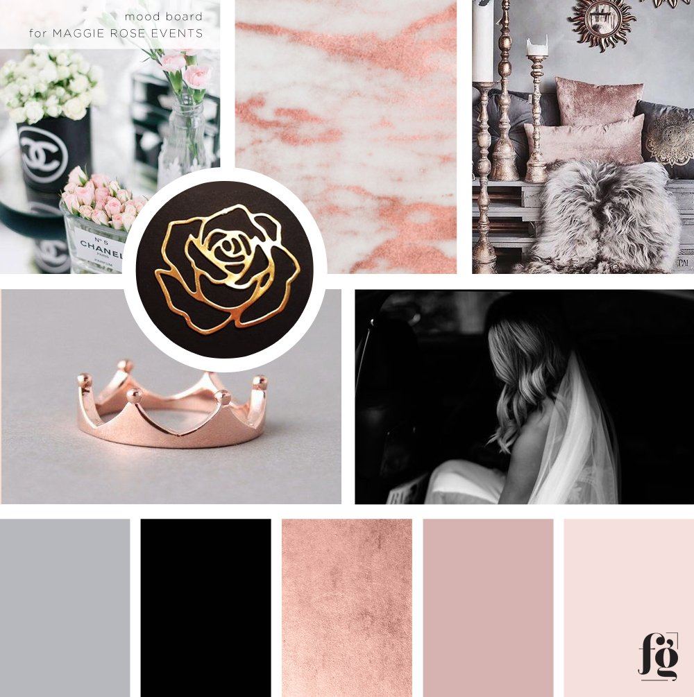 moodboard for maggierose events by fancy girl designs