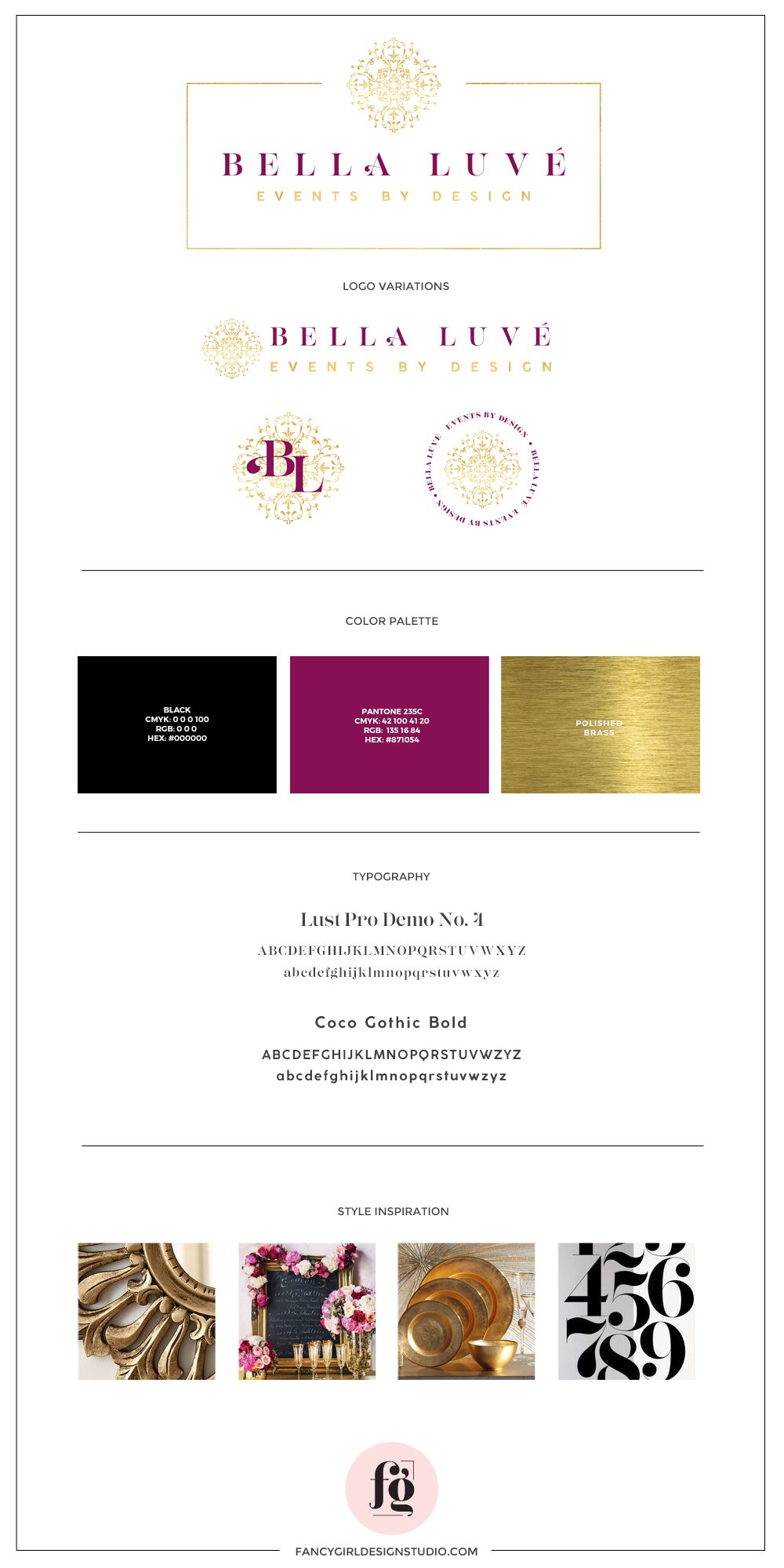 Bella Luve Brand Guide by Fancy Girl Design Studio