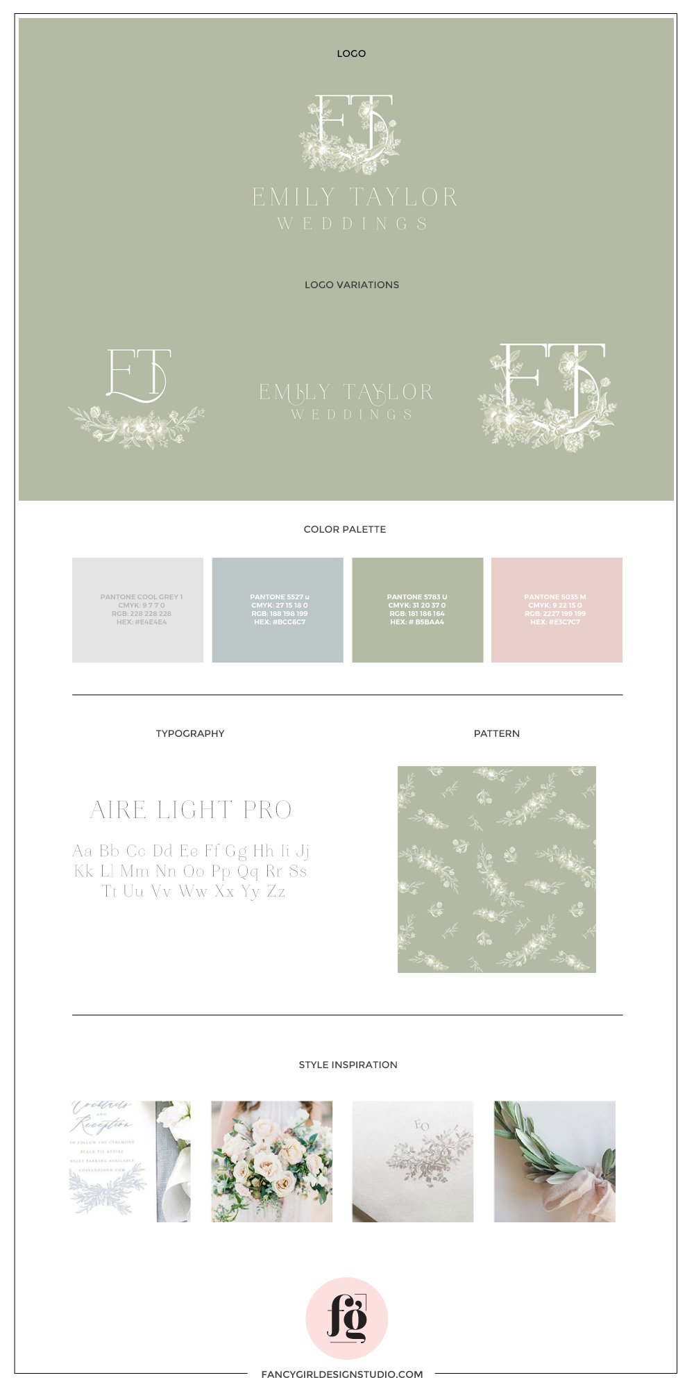 Brand guide for Emily Taylor Weddings by Fancy Girl Design Studio