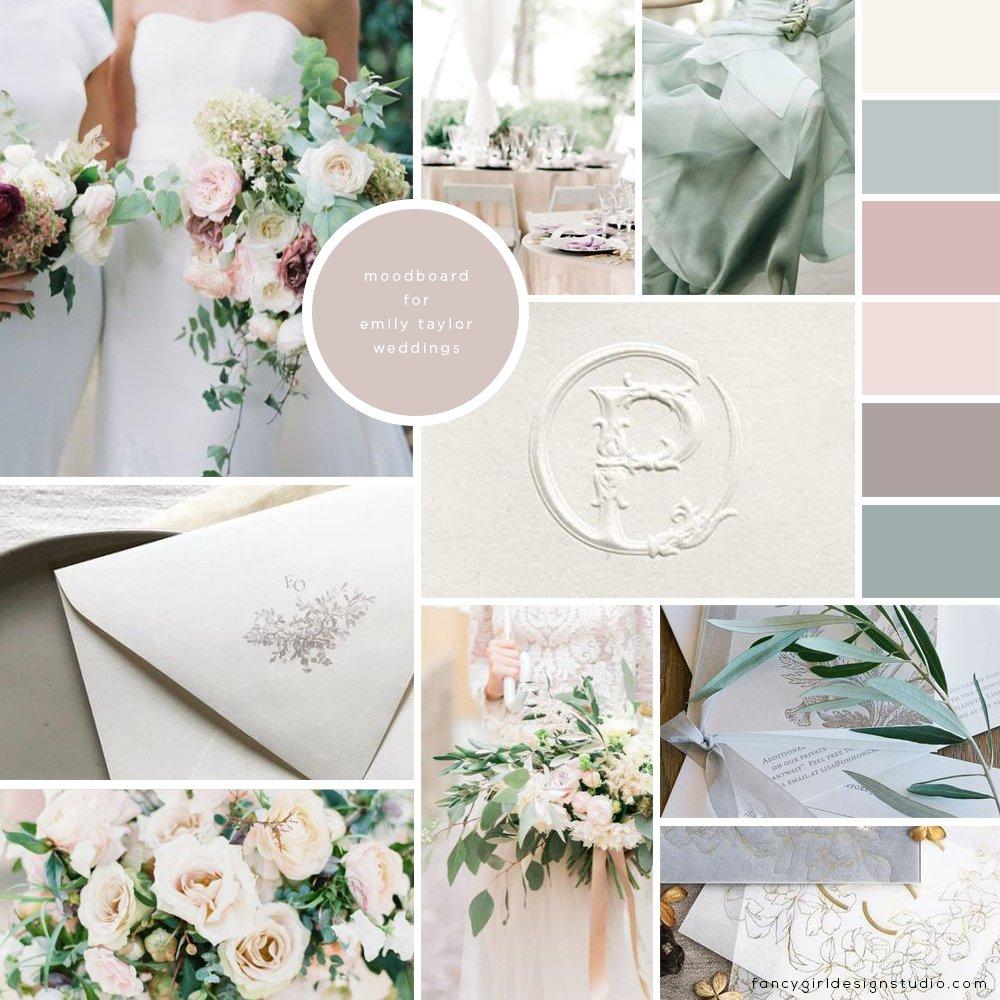 moodboard for Emily Taylor Weddings by Fancy Girl Design Studio