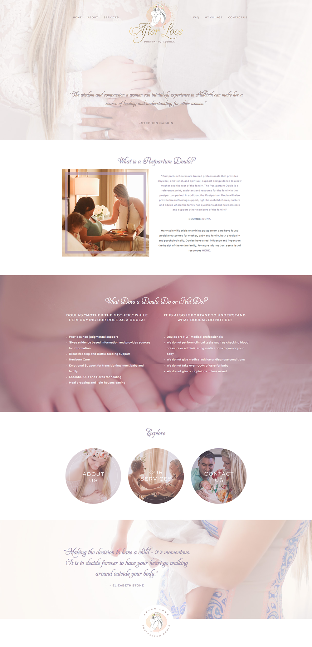 homepage screenshot of AfterLoveDoula.com, designed by Fancy Girl Design Studio