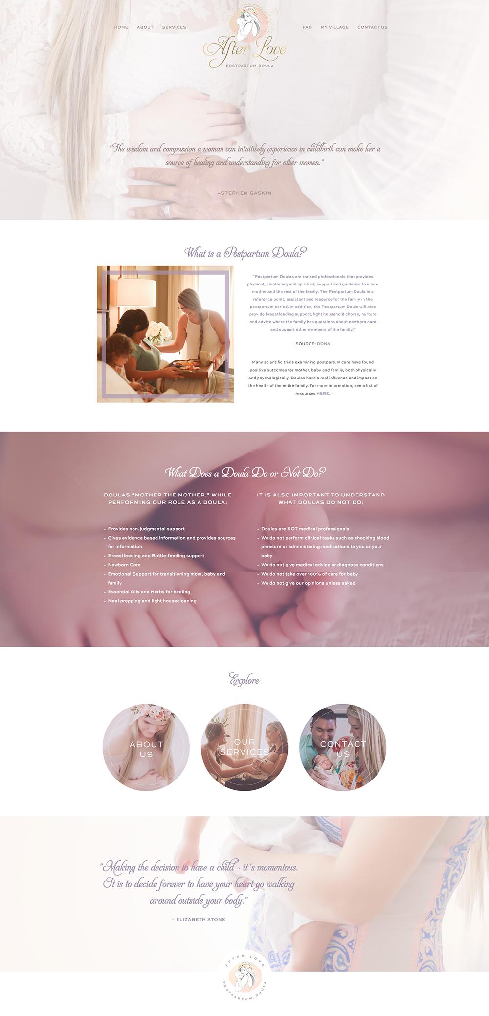 homepage screenshot of AfterLoveDoula.com, designed by Fancy Girl Design Studio
