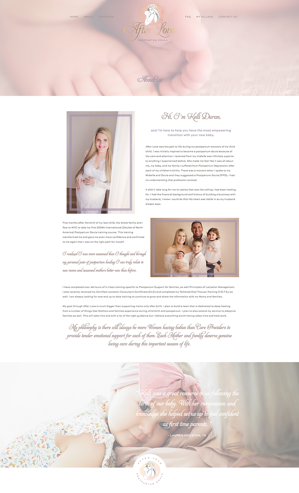 About page screenshot of afterlovedoula.com