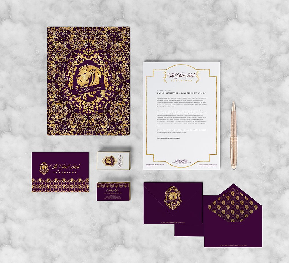 Stationery suite for The Glass Touch Interiors with baroque patterns in deep purple and metallic gold