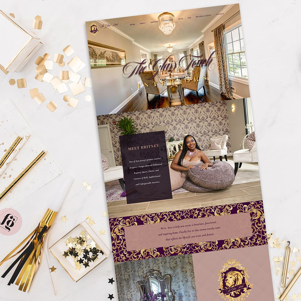 bold and luxurious website design for The Glass Touch Interiors by Fancy Girl Design Studio