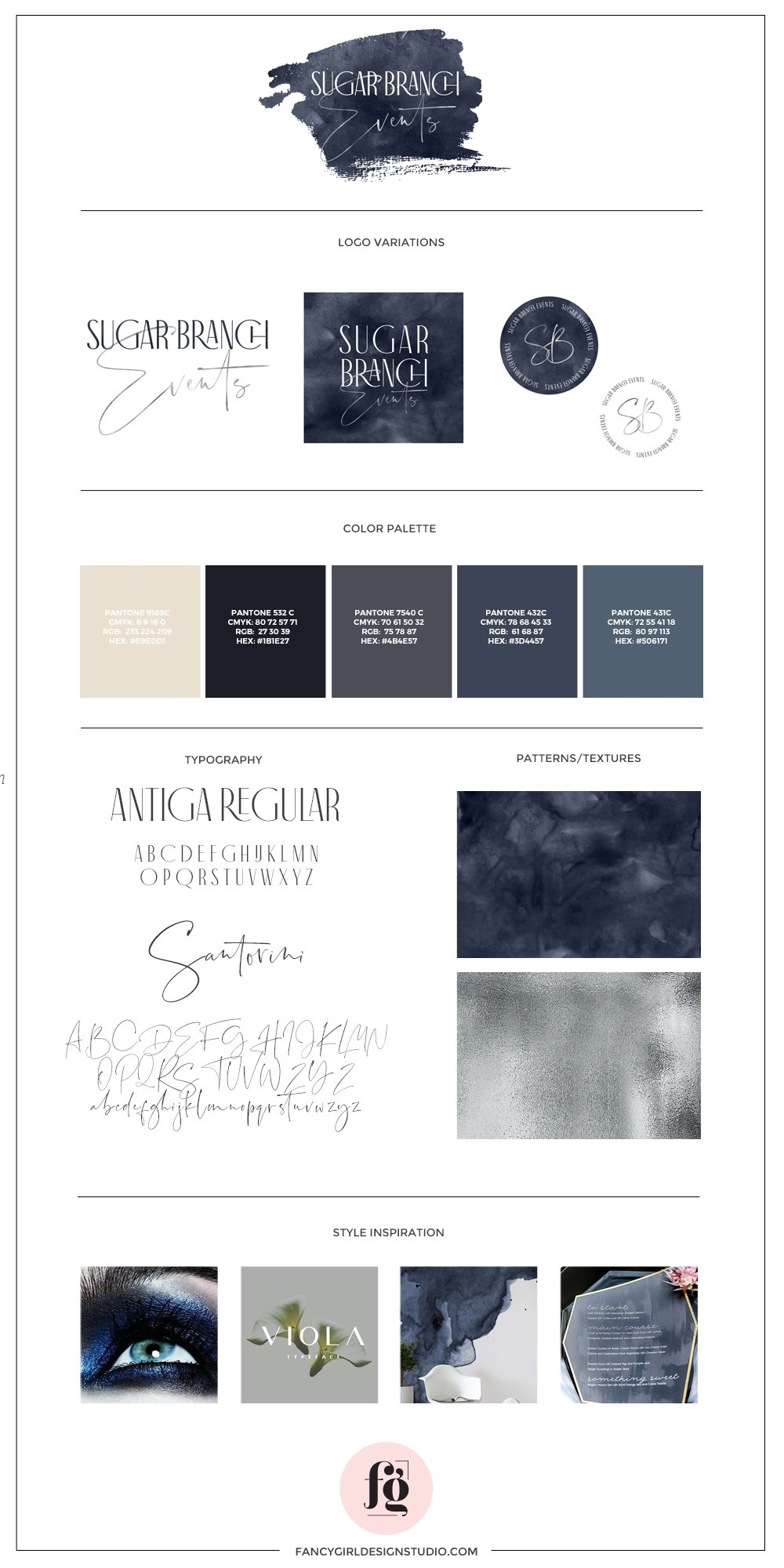 brand guide for sugar branch events by fancy girl design studio