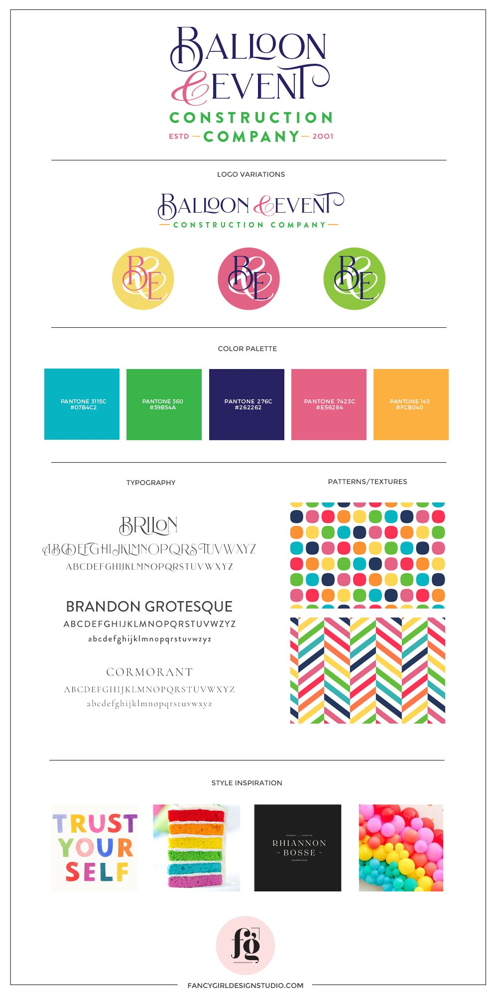 Brand Guide for Balloon & Event Construction Company by Fancy Girl Design Studio