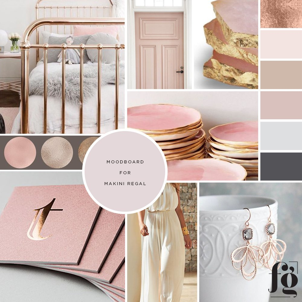 moodboard for Makini Regal designs with a soft, elegant color palette