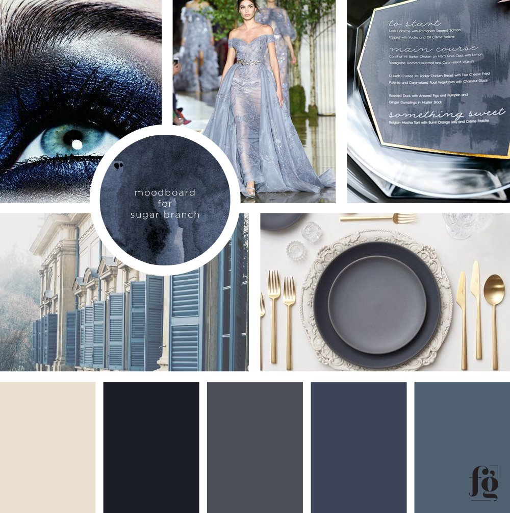 moodboard and color palette for sugar branch events by fancy girl design studio
