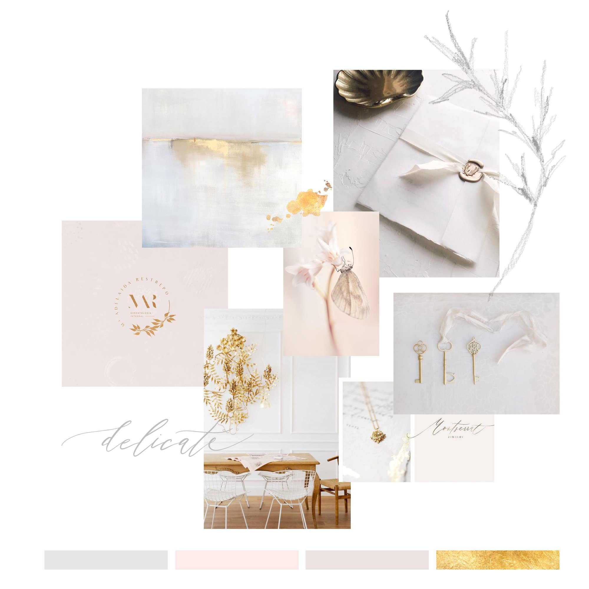 moodboard and color palette for splendida weddings in pale blush and gold