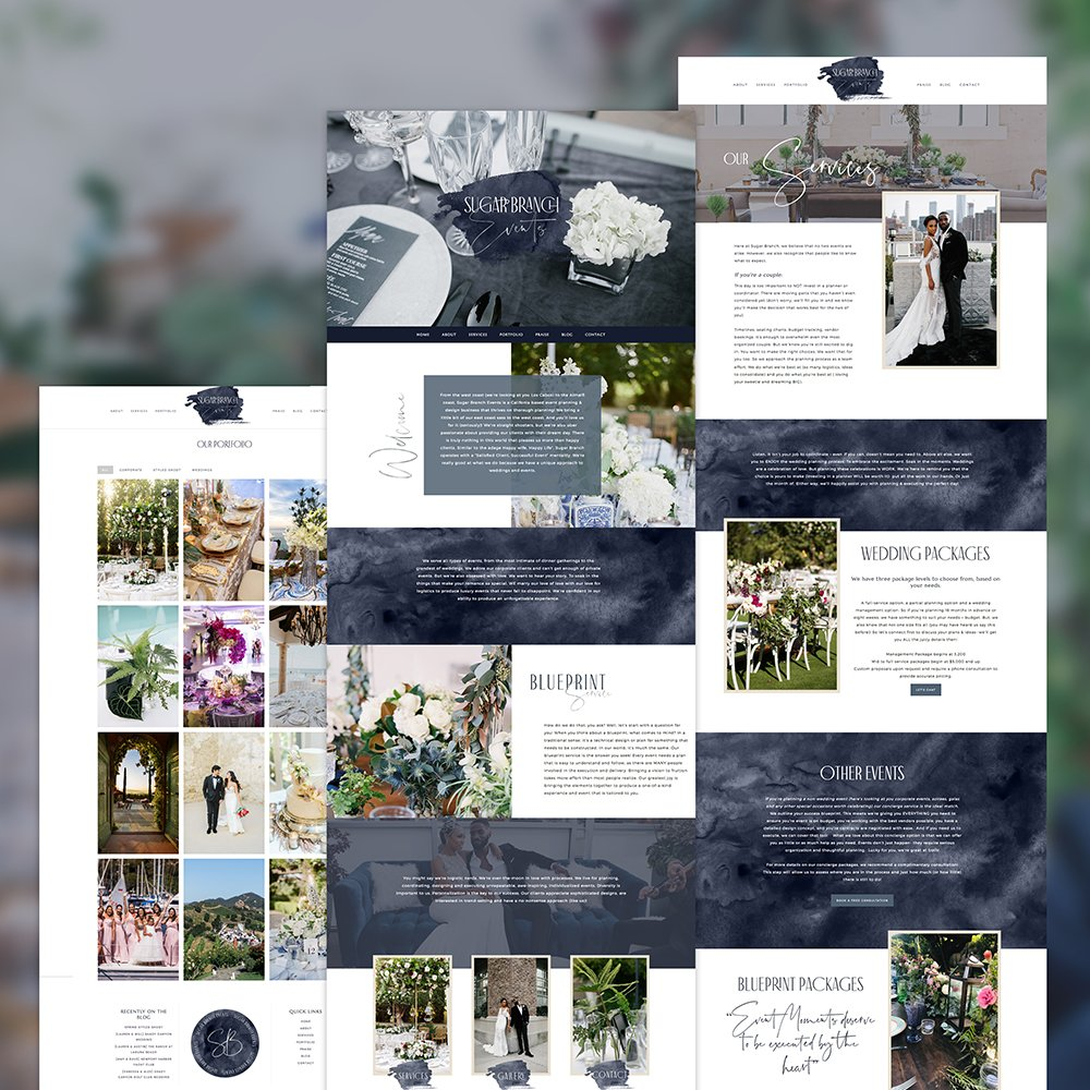 website layout for sugar branch events by fancy girl design studio