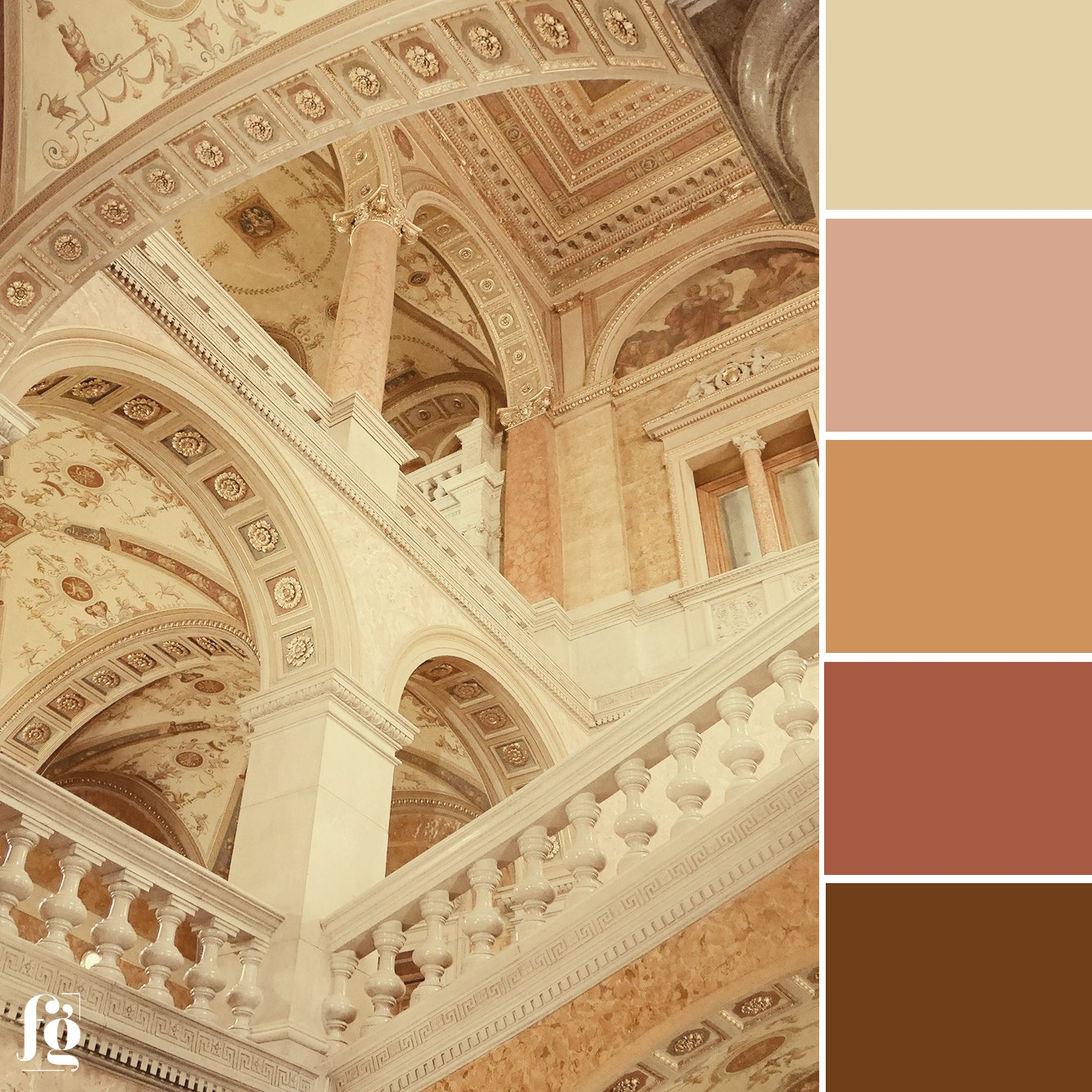 warm pinks and ochres from the Hungarian State Opera House