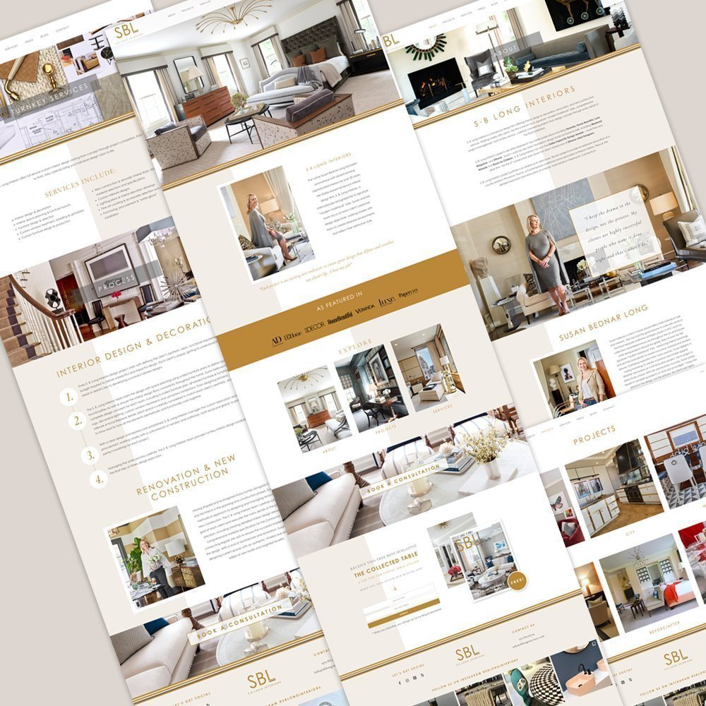 polished, professional, upscale website layout for SBL Interiors by fancy girl design studio