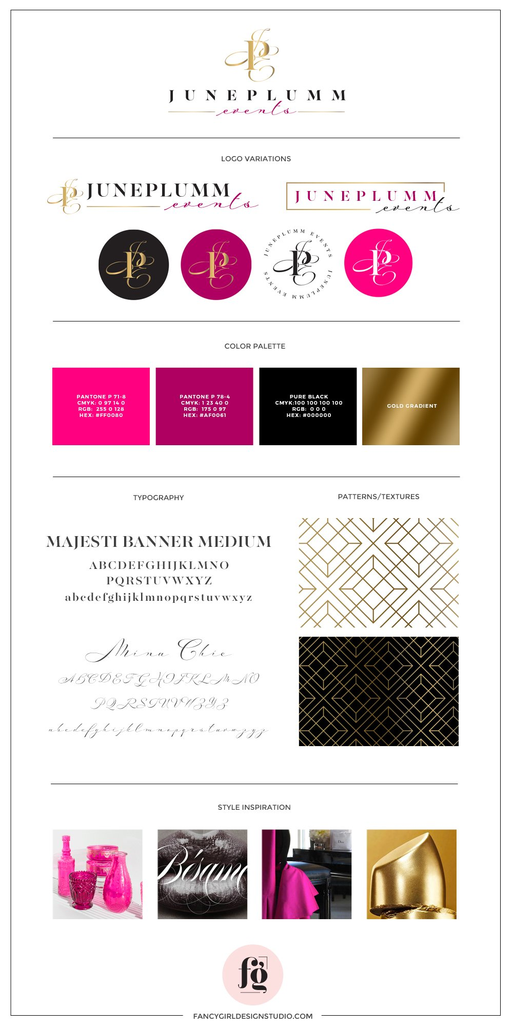 brand guide for JunePlumm Events by Fancy Girl Design Studio | glamorous, sophisticated, and vibrant logo design