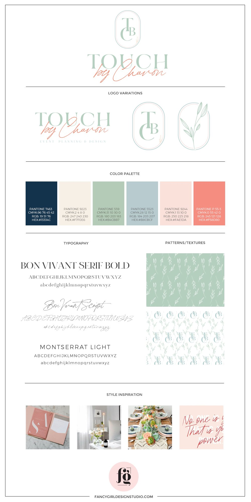 Brand guide for Touch by Chavon | Designed by Fancy Girl Design Studio