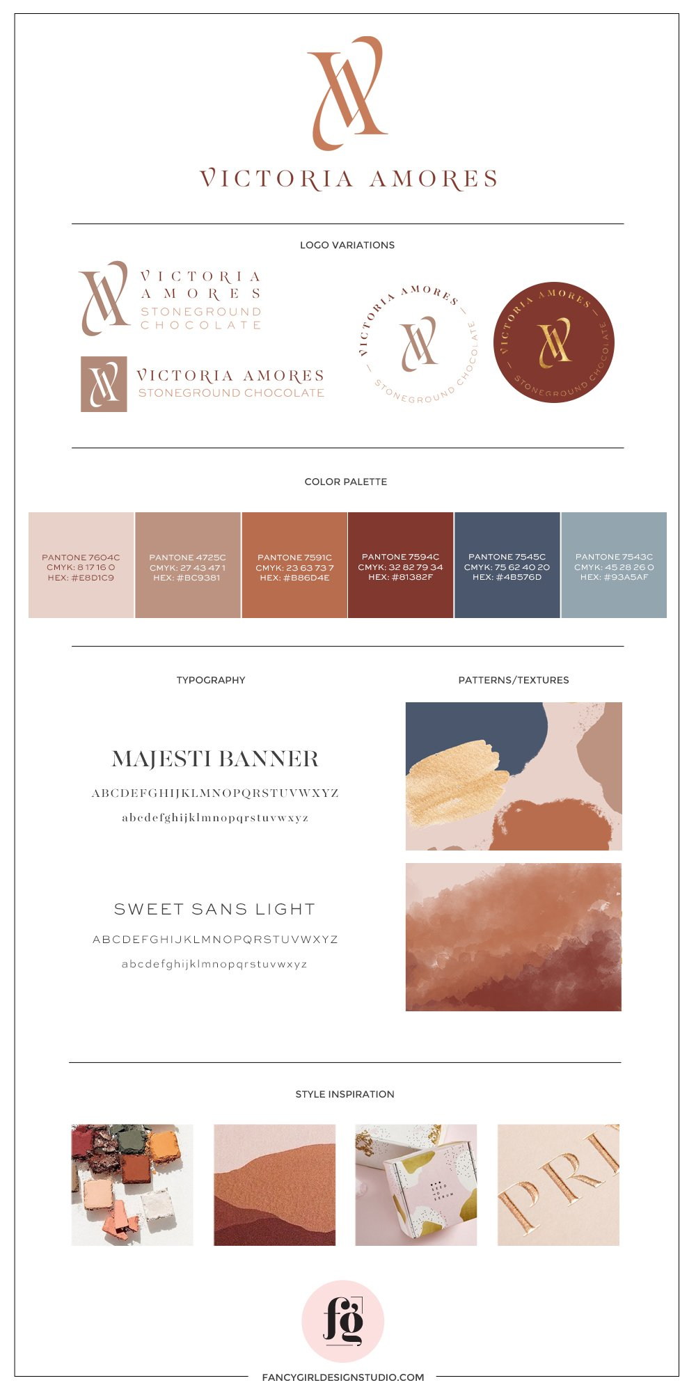 brand guide for Victoria Amores Chocolate | Designed by Fancy Girl Design Studio