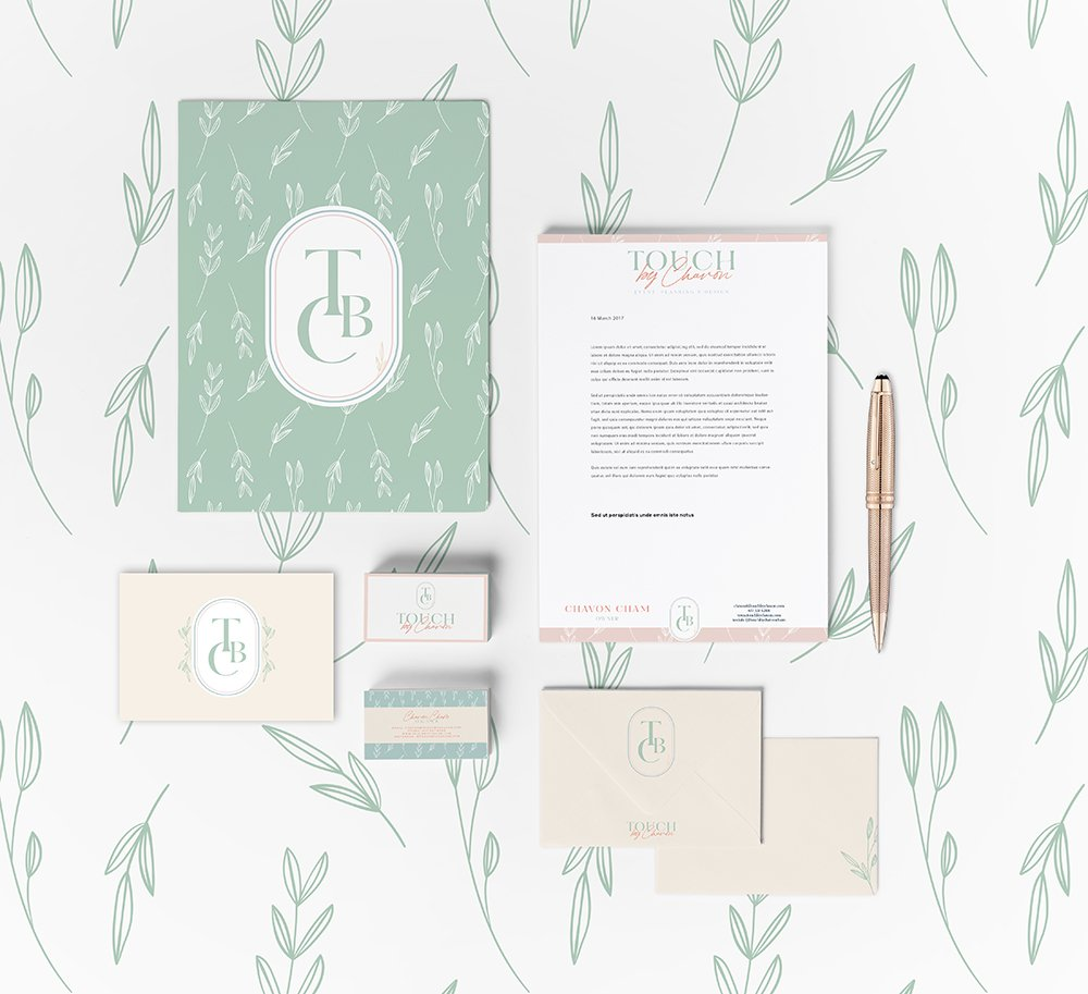 Stationery suite design for Touch by Chavon | Designed by Fancy Girl Design Studio