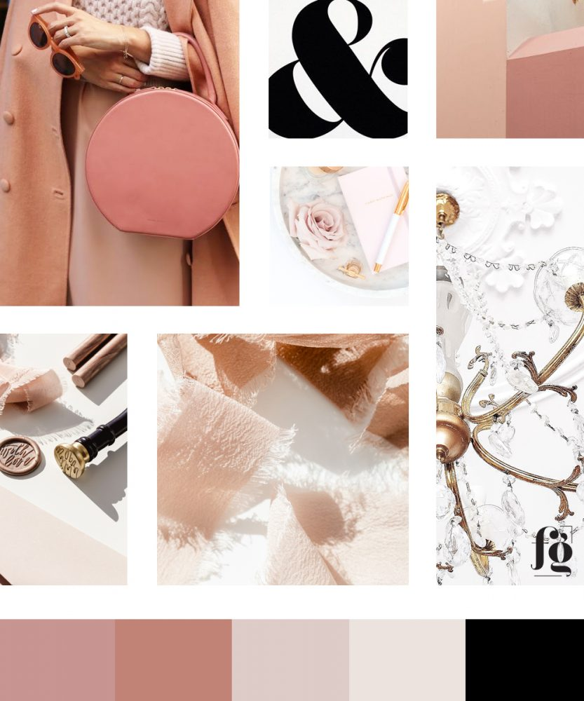 moodboard and color palette for fancy girl design studio