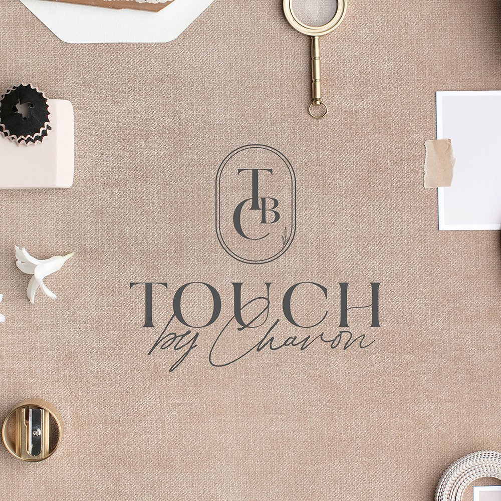 monochrome version of the logo design for Touch by Chavon | Designed by Fancy Girl Design Studio