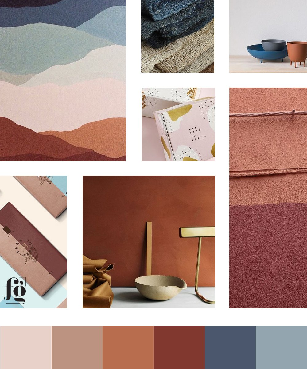 moodboard and color palette for Victoria Amores Chocolate
