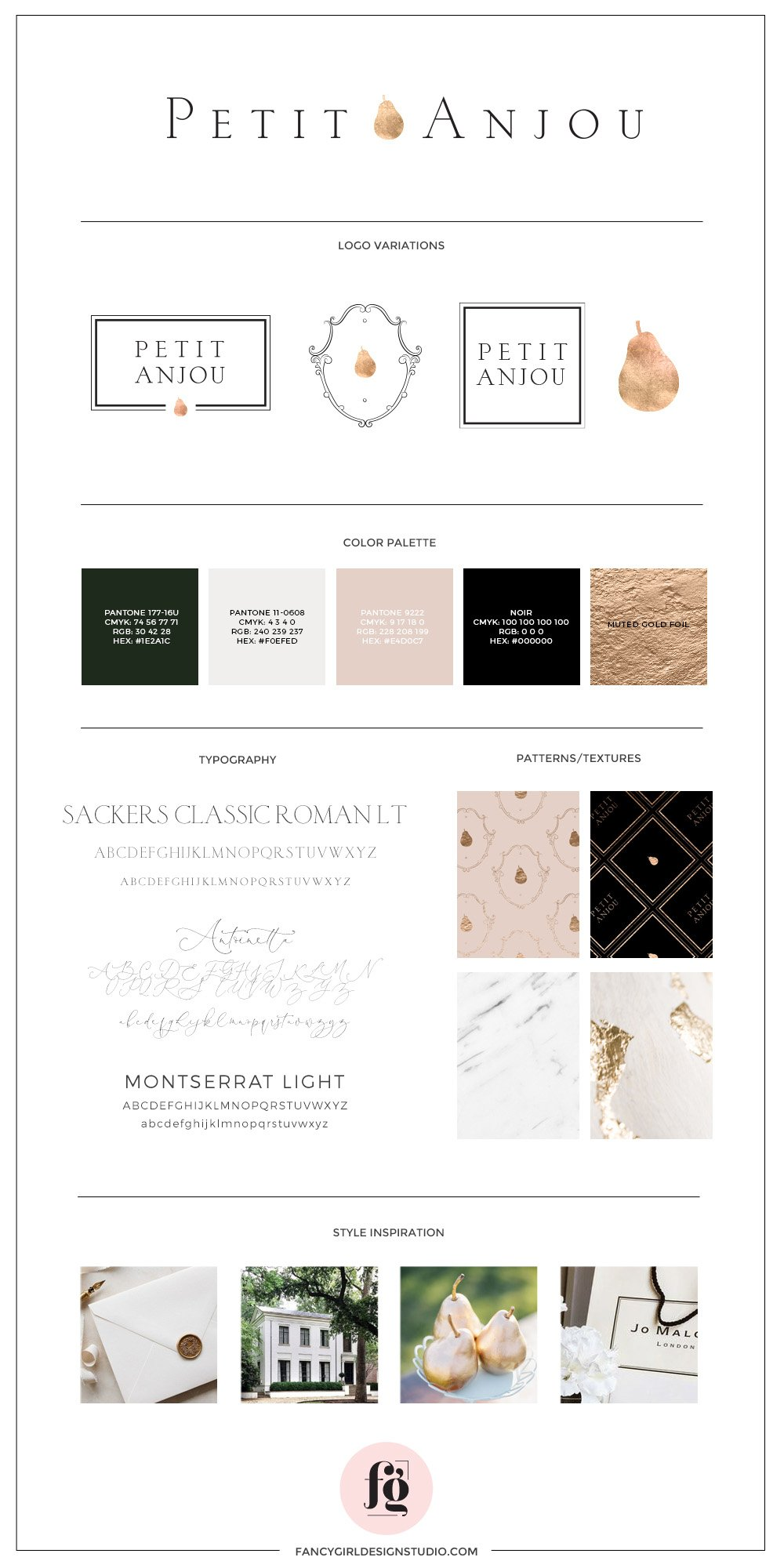 Brand Guide for Petit Anjou by Fancy Girl Design Studio | luxurious, timeless, sophisticated, French-inspired branding