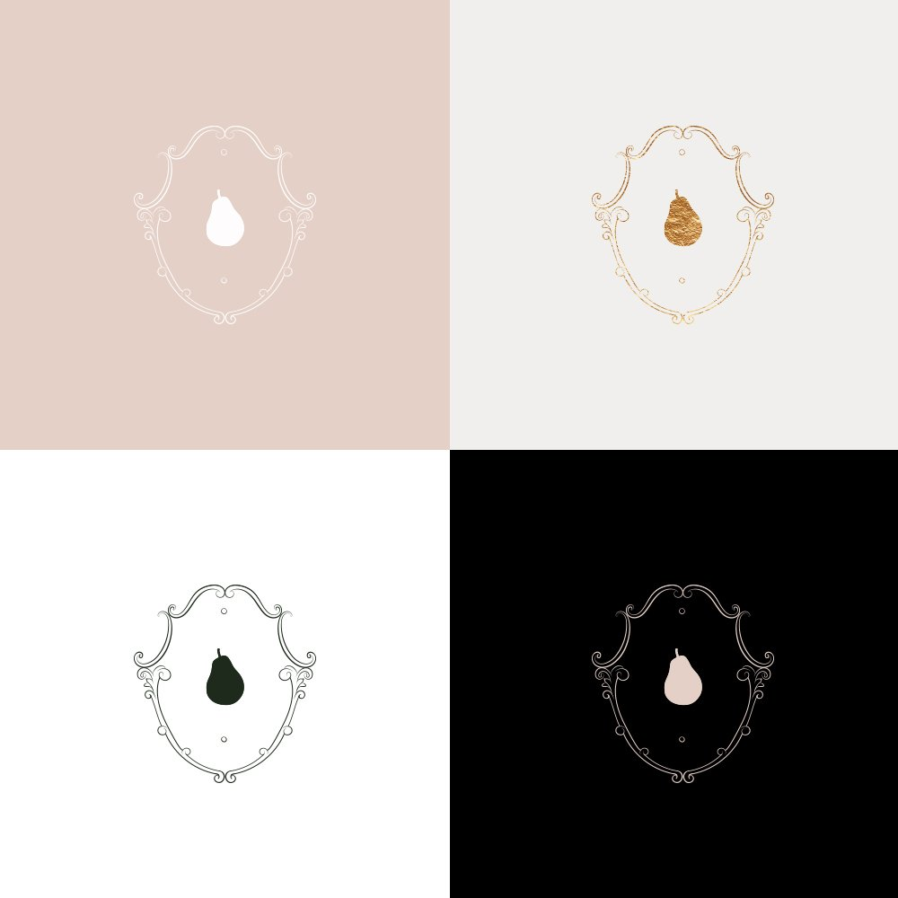 emblem color variations. luxurious, classic, sophisticated logo design for Petit Anjou by Fancy Girl Design Studio