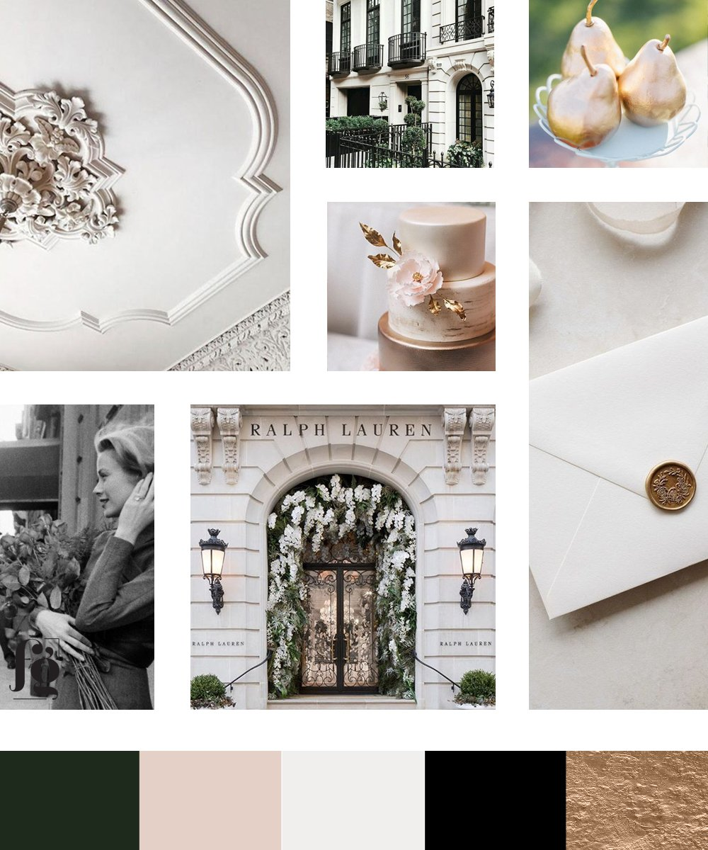 Classic, refined luxury in the moodboard and color palette for Petit Anjou. Designed by Fancy Girl Design Studio
