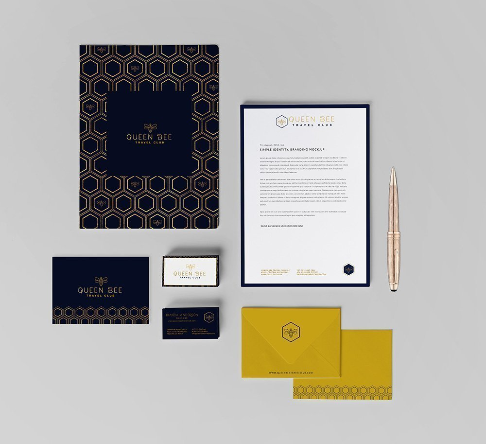 stationery suite design for Queen Bee Travel Club by Fancy Girl Design Studio