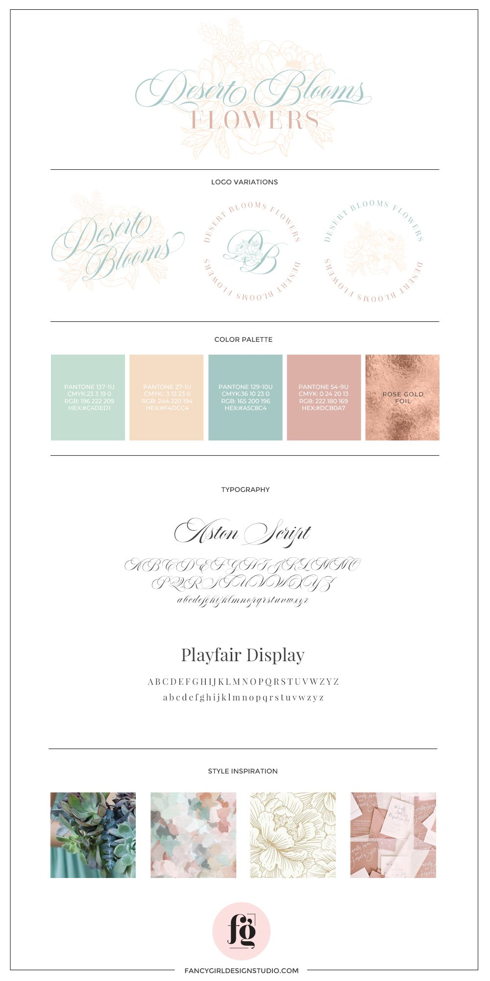 brand guide for Desert Blooms Flowers by Fancy Girl Design Studio