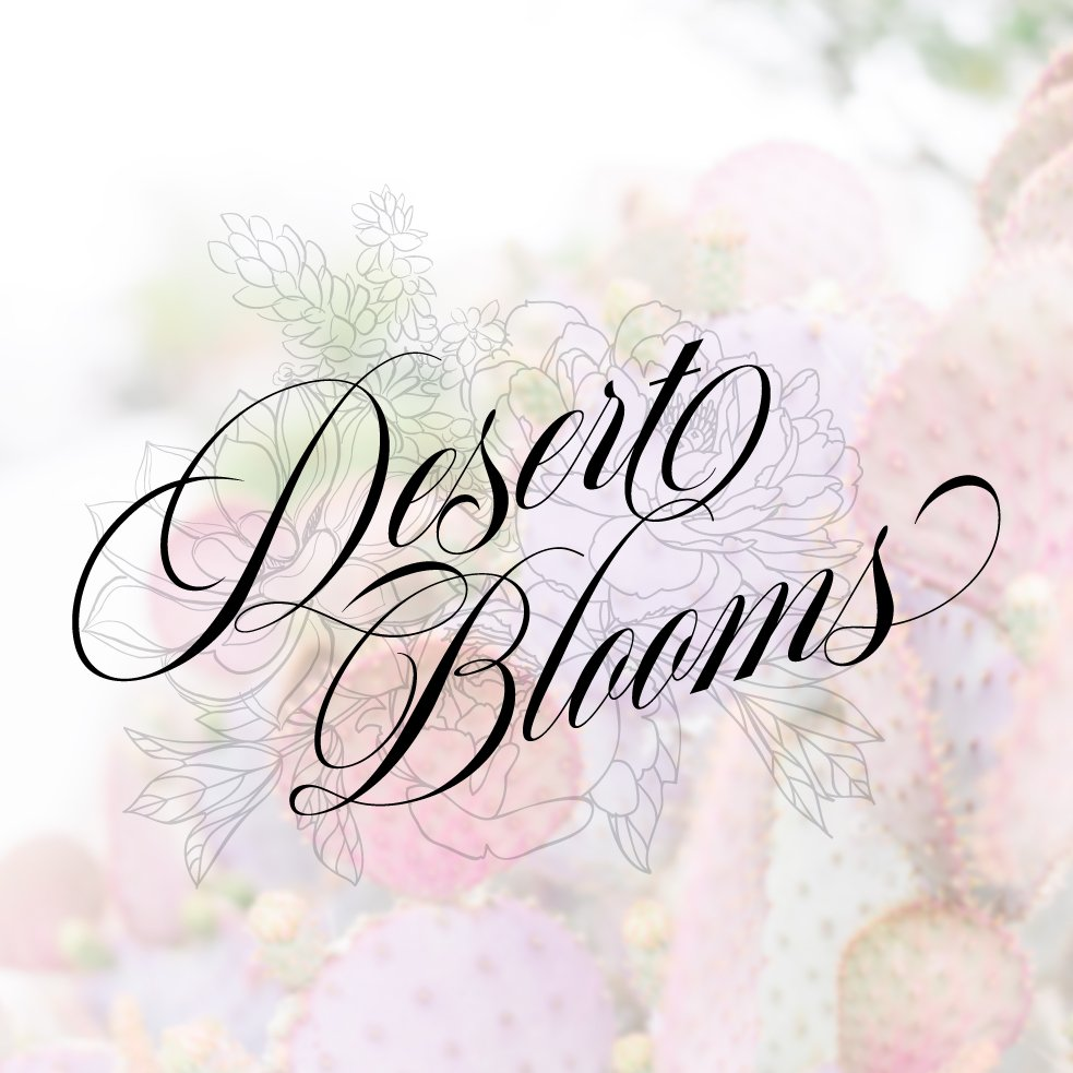 Alternate logo design for Desert Blooms Flowers by Fancy Girl Design Studio with cactus background