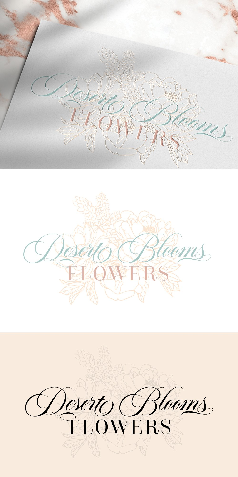 primary logo for Desert Blooms Flowers by Fancy Girl Design Studio with hand-drawn illustrations