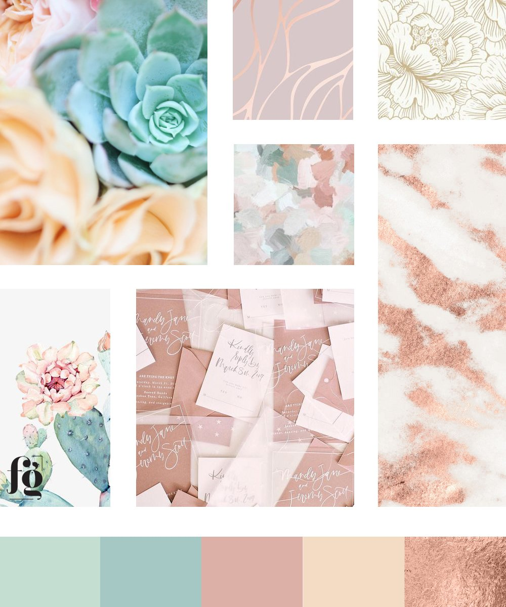Moodboard and color palette for Desert Blooms Flowers by Fancy Girl Design Studio