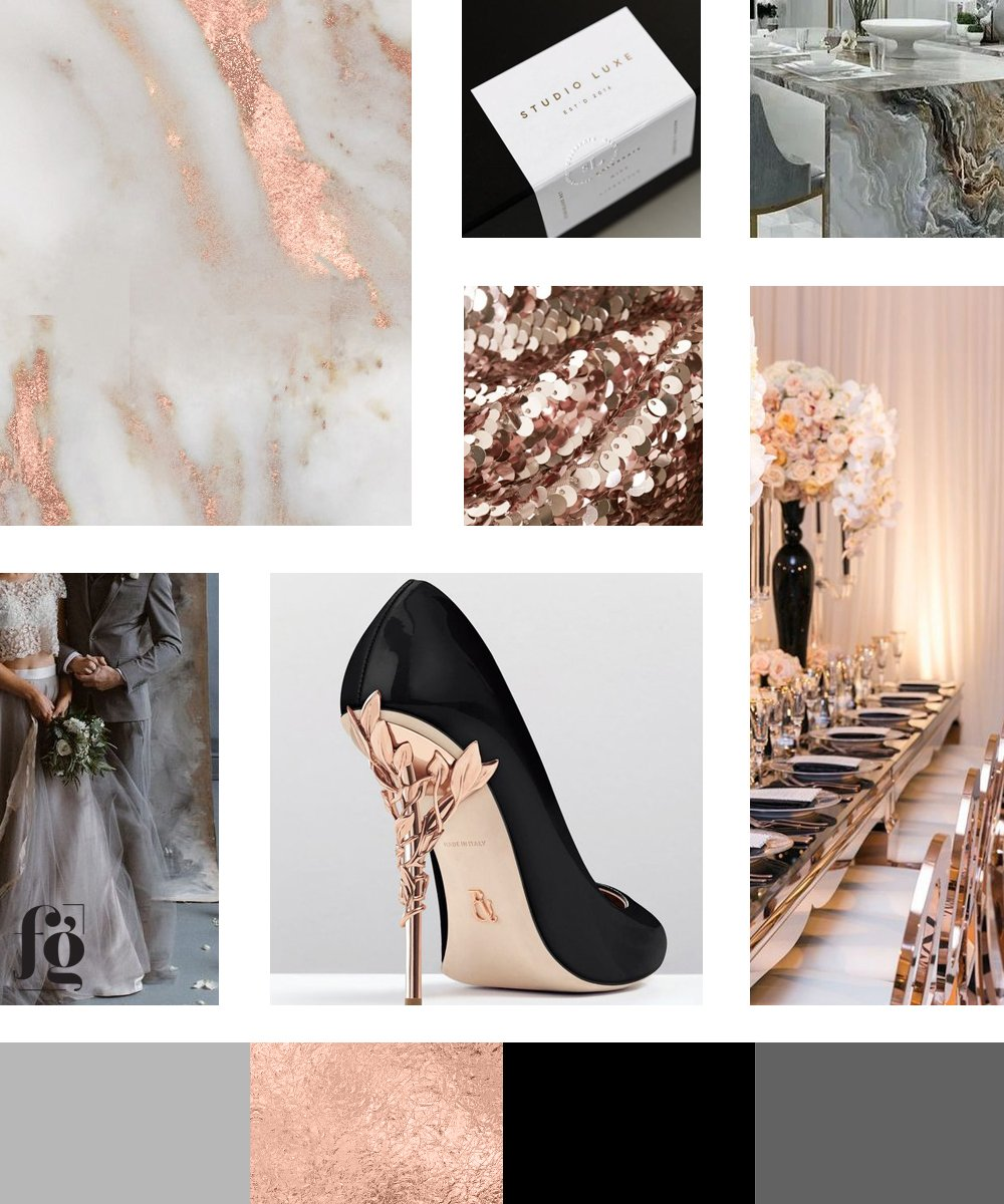 moodboard and color palette for Leslie Marie Events | elegant, stylish, luxurious and glamorous