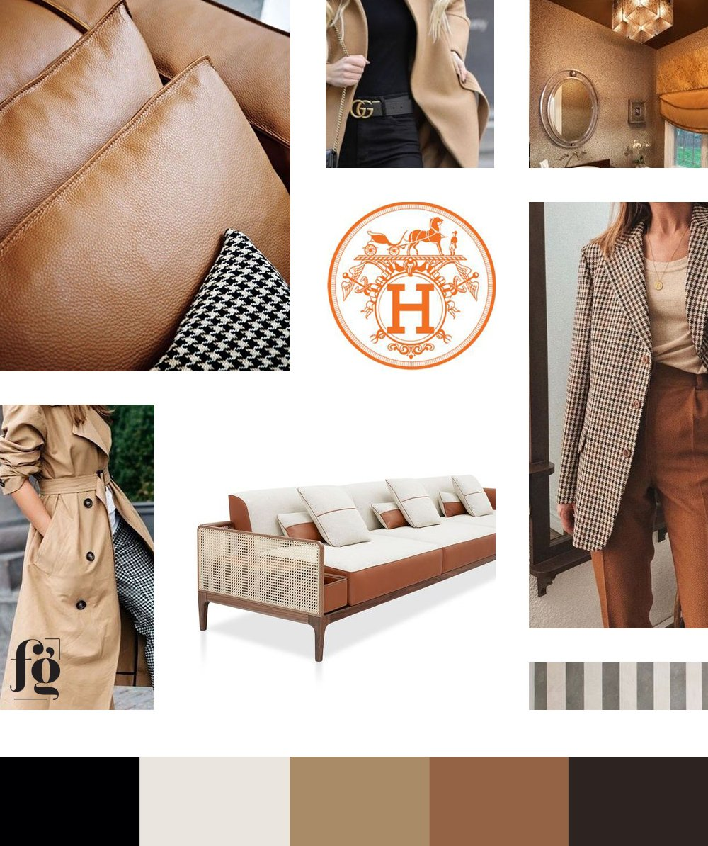 moodboard and color palette for Syntha Harris Interiors, with warm and neutral colors