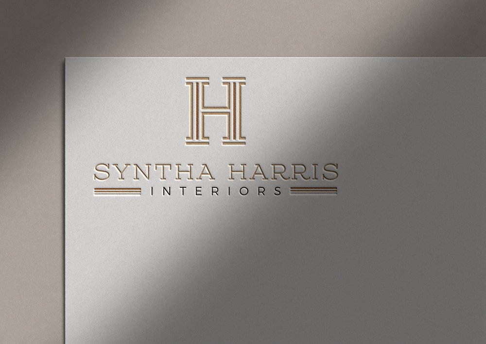 Syntha Harris Interiors logo design  mockup as letterpress on paper by Fancy Girl Design Studio