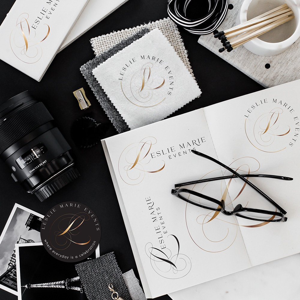 luxurious, timeless, stylish logo design for Leslie Marie Events by Fancy Girl Design Studio