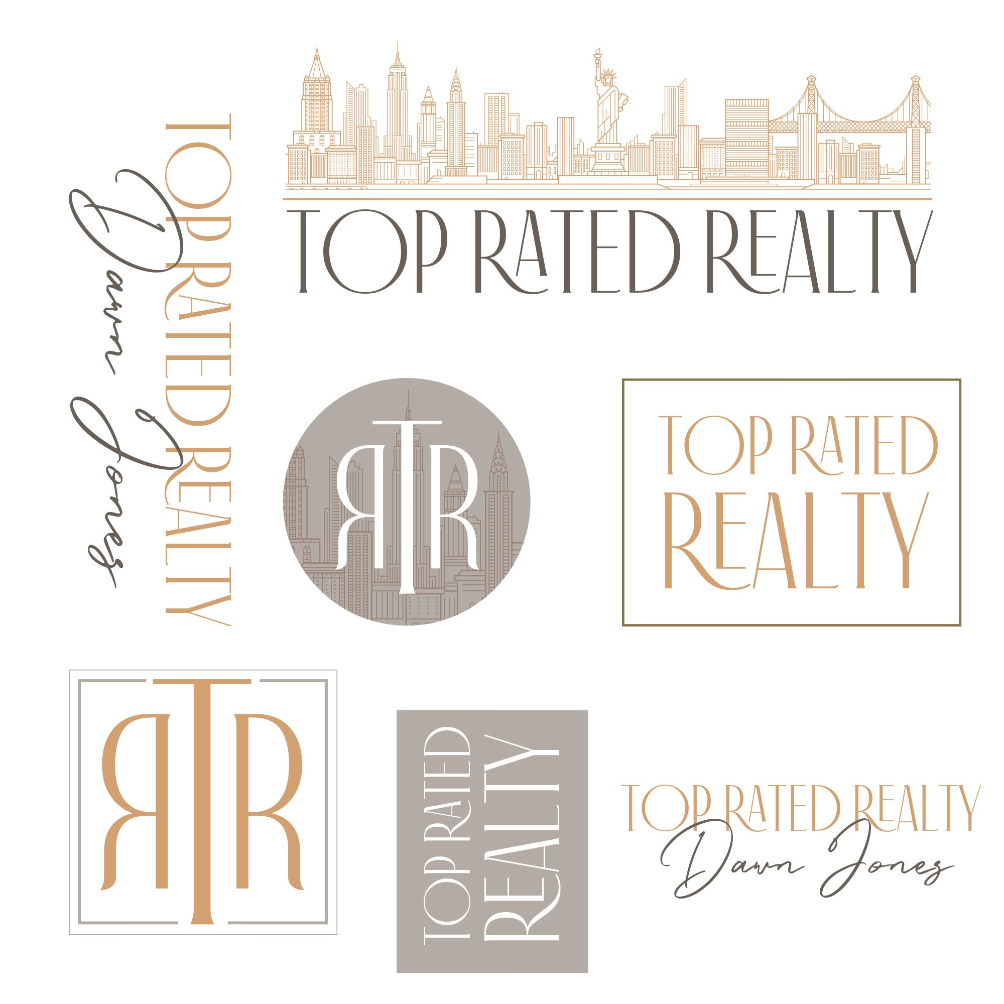 Top Rated Realty complete logo set with variations, designed by Fancy Girl Design Studio