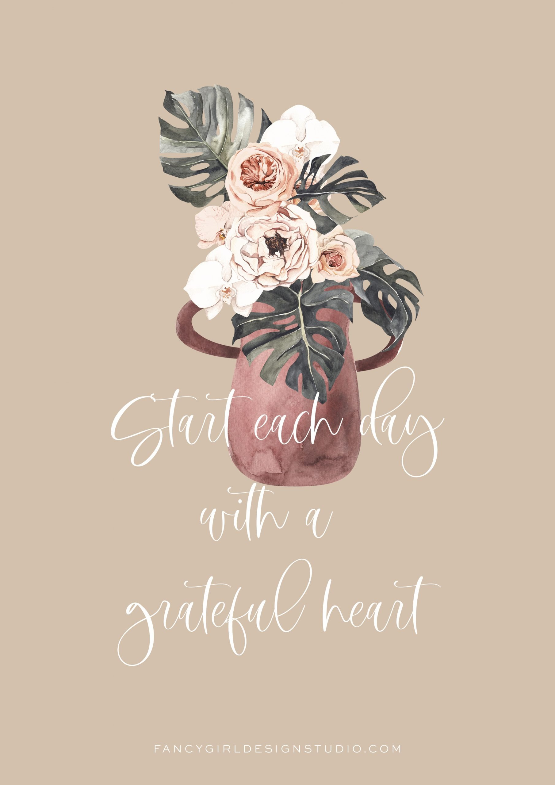 Start each day with a grateful heart. Graphic created by Fancy Girl Design Studio using Canyonlands font.