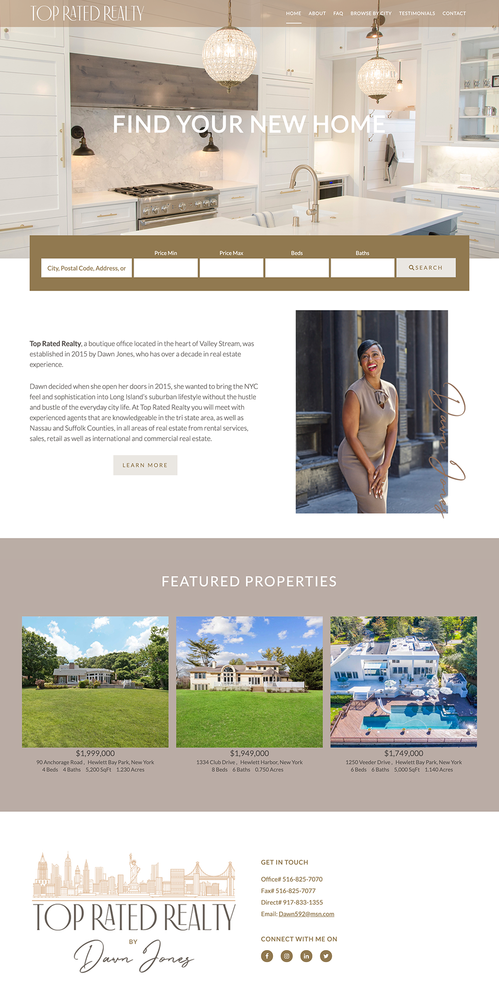 website homepage layout for Top Rated Realty NY