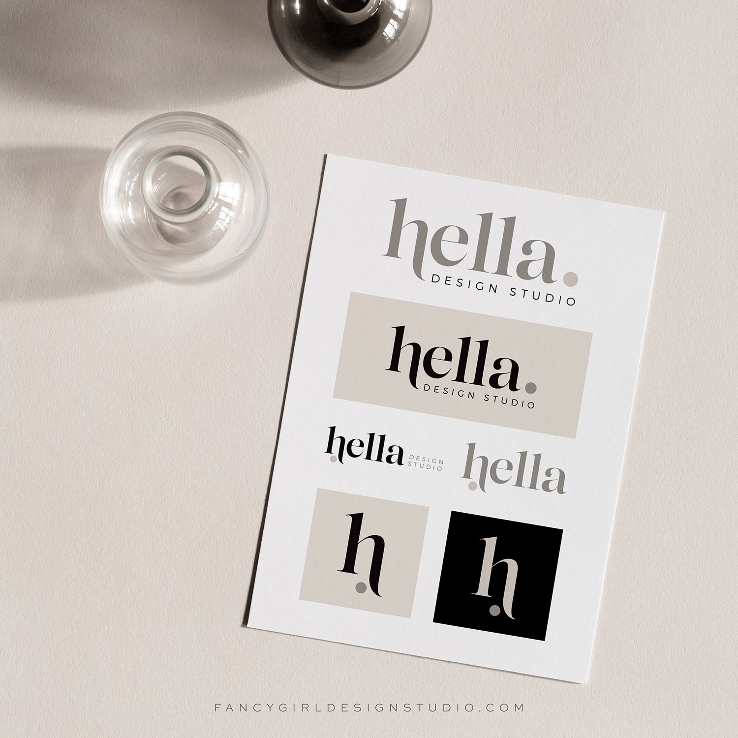 Logo design with variations for Hella Design Studio | polished, bold, and professional logo design for an interior design company